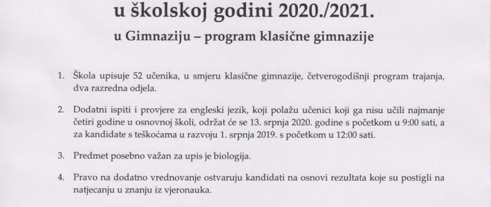 Natječaj za upis u prvi razred  u školskoj godini 2020./2021.