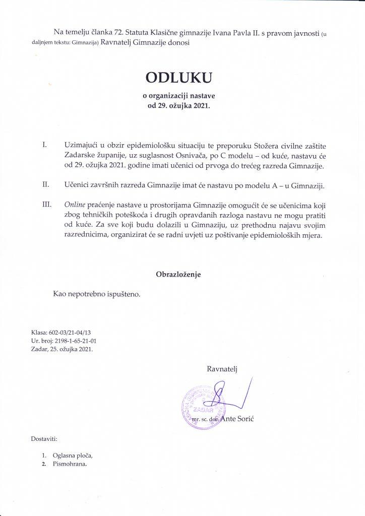 Održavanje nastave od 29. ožujka 2021. godine